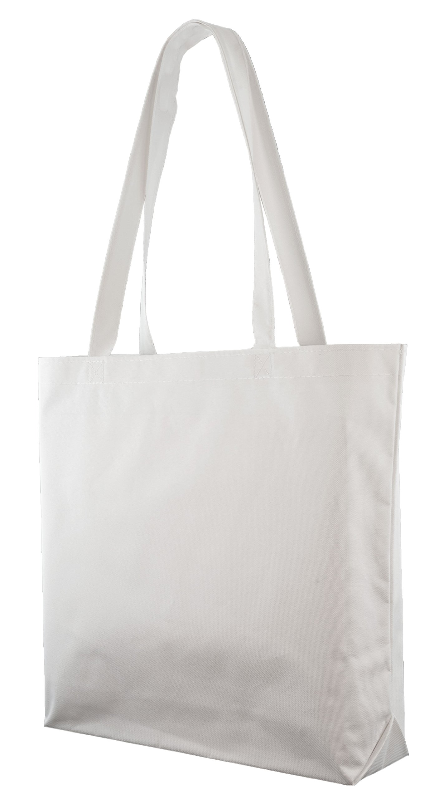 Large Shopping Tote with Shoulder Length Handles (White)