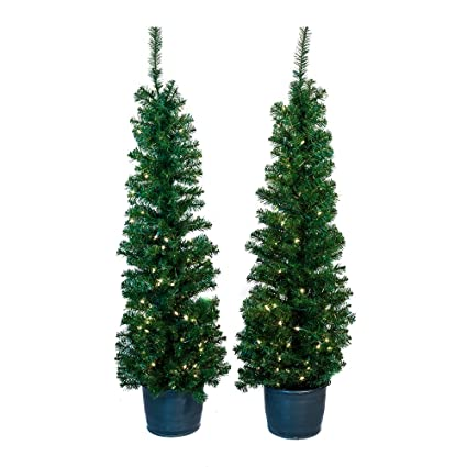 kurt adler 5 foot pre lit potted tree set set of 2 trees - Pre Lit And Decorated Christmas Trees