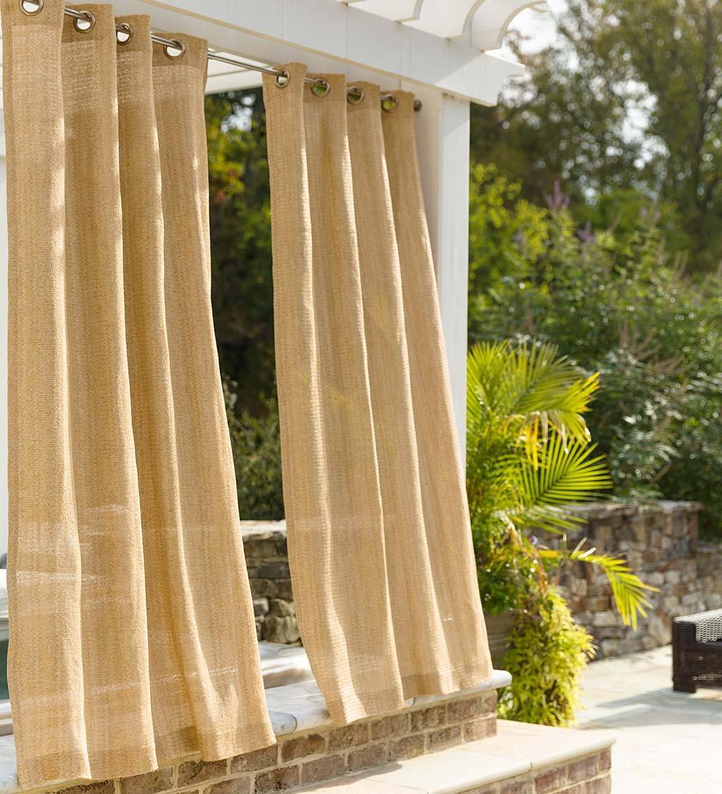 Plow & Hearth Indoor Outdoor Raffia Weave Single Grommet Top Curtain Panel, UV and Mildew Resistant, Water Repellent, 50''W x 84''L