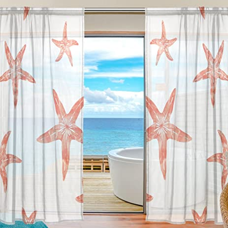 ALIREA Coral Starfish Sheer Curtain Panels Tulle Polyester Voile Window  Treatment Panel Curtains For Bedroom Living