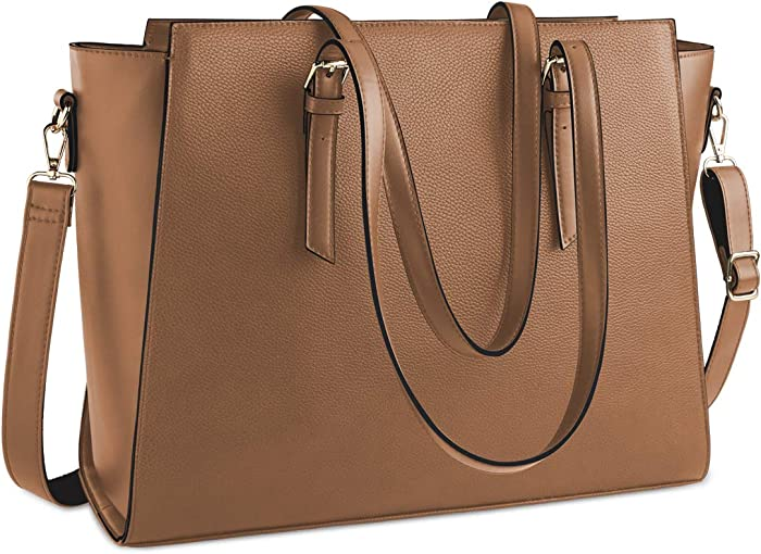 Laptop Bag for Women 15.6 Inch Waterproof Laptop Tote Bag Large Leather Computer Briefcase Womens Business Professional Office Work Bag Lightweight Shoulder Handbag,Brown
