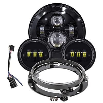 TRUCKMALL 7 inch LED Headlight, 4.5'' Fog Passing Lights, with Mounting Ring for Harley Davidson Touring Road King Ultra Classic Electra Street Glide Tri Cvo Heritage Softail Slim Deluxe Fatboy Black: Automotive