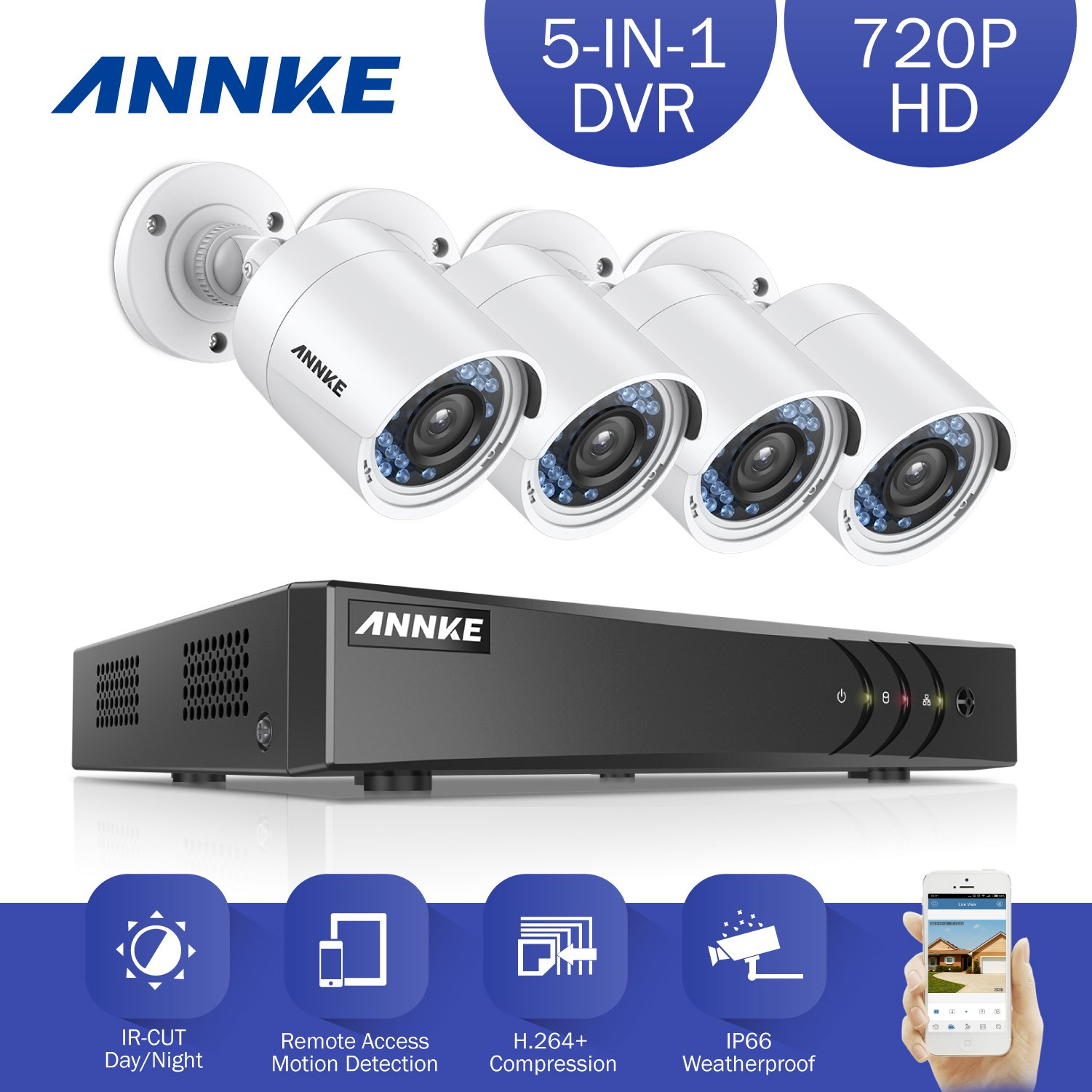 ANNKE 8CH 1080P Lite HD-TVI Surveillance DVR Camera System and 4x1.0MP Indoor/Outdoor Weatherproof Day/Night Metal CCTV Camera, NO Hard Drive Included by ANNKE (Image #2)