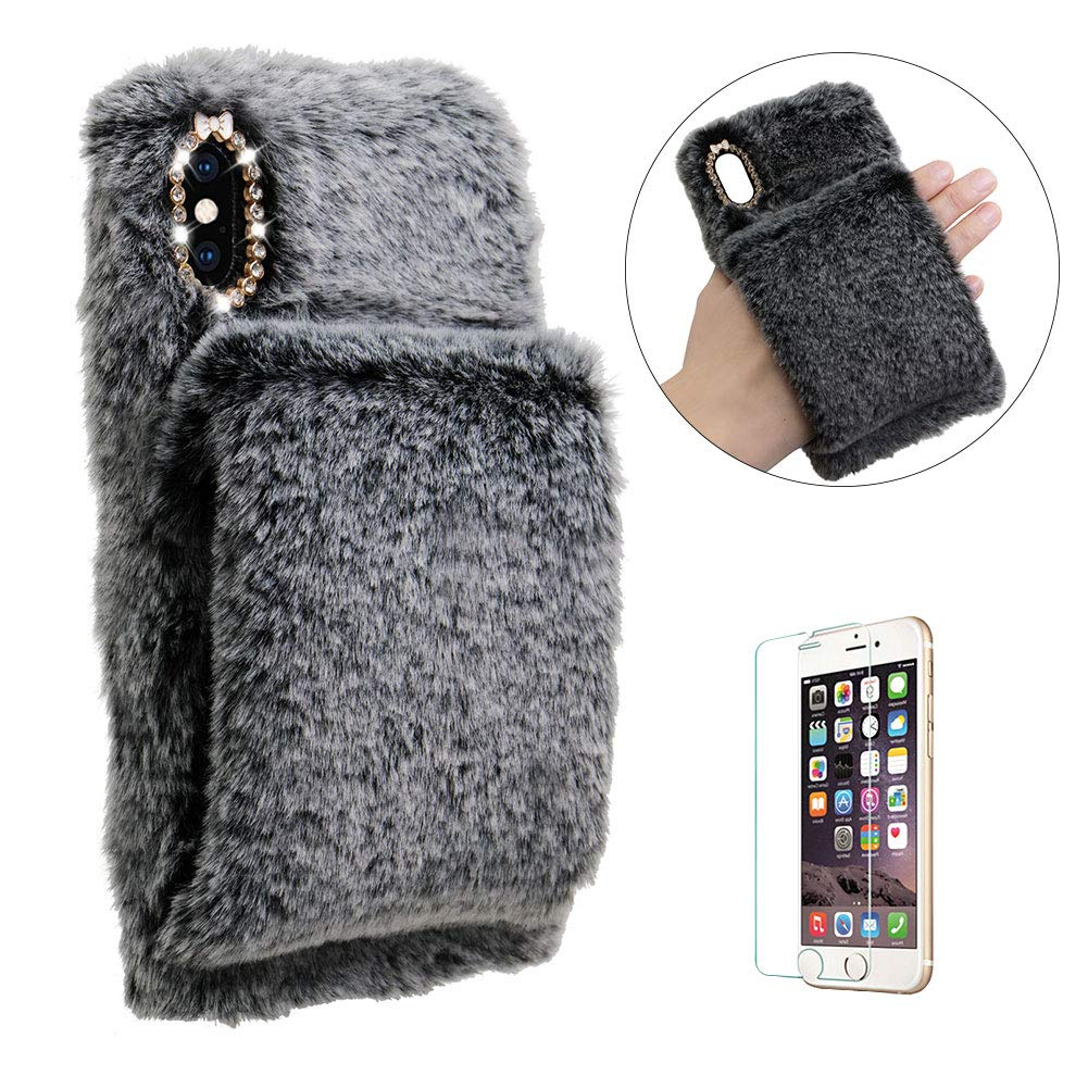 Funyye Special Soft Plush Cover for iPhone 7,Artificial Fluffy Villi Wool Cute Plush Warm hands Soft Silicone TPU Inner Shockproof Back Case with Glitter Rhinestone Case for iPhone 7/8 4.7 inch + 1 x Free Screen Protector