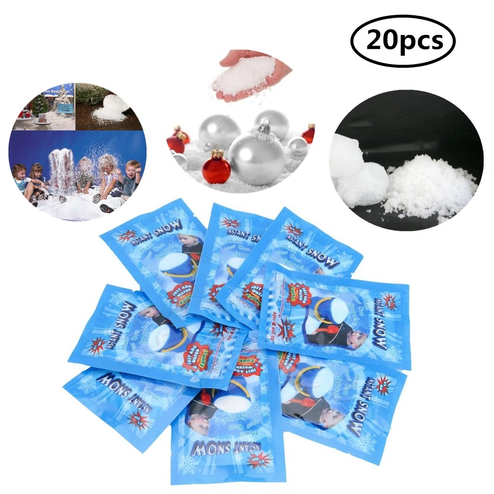 WarmShine 20 Pack Instant Snow Powder SAP Magic Snow Reusable DIY Artificial Slime Simulation Snow Home Ornament Party Decoration