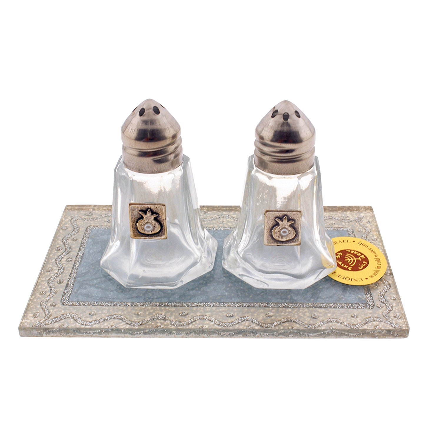 Stylish Glass Salt and Pepper Shakers with Tray Featuring Beautiful Art Designs Judaica Mega Mall