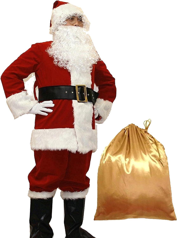 WHOBUY Mens Deluxe Santa Suit 10pc. Christmas Adult Santa Claus