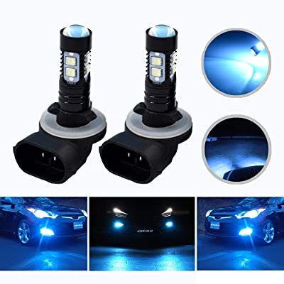 HOCOLO Extremely Bright Max 50W High Power 881 LED Fog Light Bulbs for DRL or Fog Lights, Xenon White (881-50W, Lighting Ice Blue): Automotive