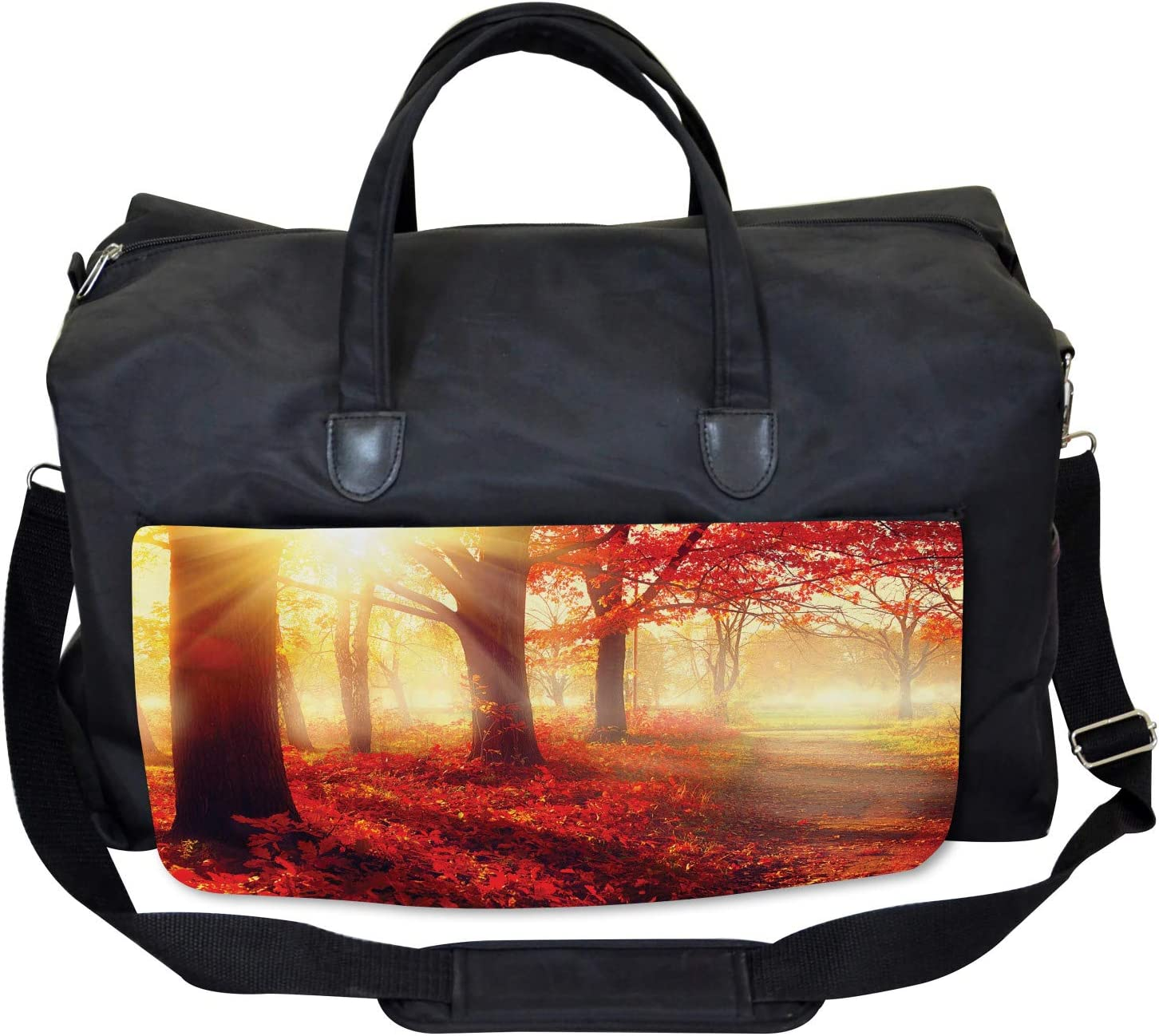 Large Weekender Carry-on Misty Morning in Forest Ambesonne Fall Gym Bag