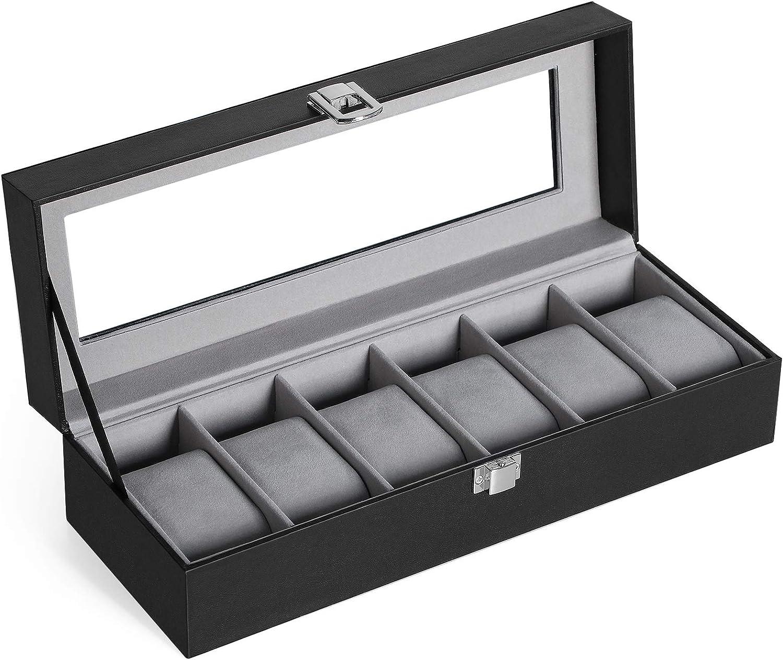 SONGMICS Caja de Relojes con 6 Compartimentos, Tapa de Cristal, Forro de Terciopelo, con Cojines y Cerradura, 30 x 11,2 x 8 cm, Negro JWB06BK