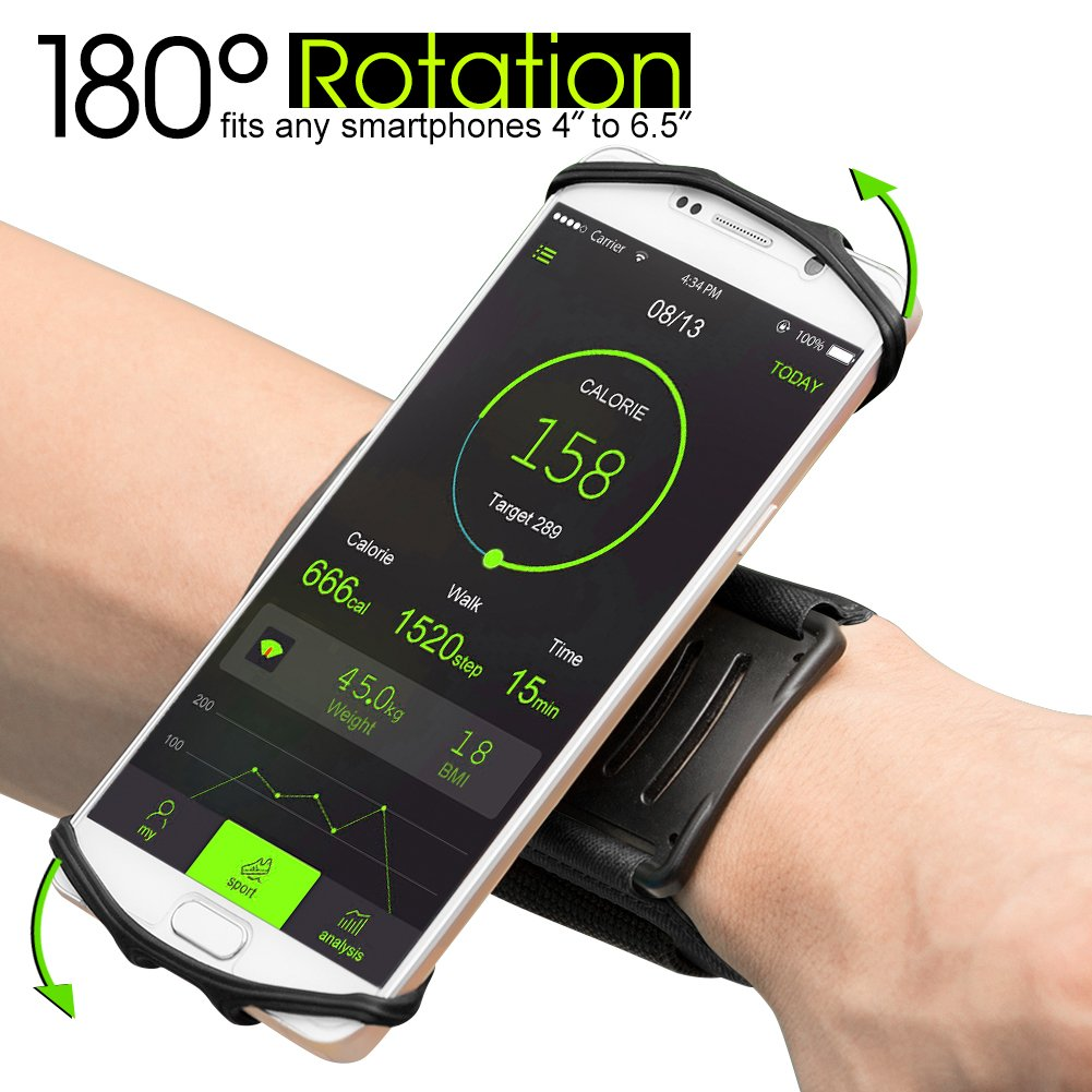 """SWONUK Sports Phone Wristband for Running, Biking,Household Chores 180°Rotatable Phone Holder for 4""""-6.5"""" Smartphones iPhone X 8 7 6Plus Android Samsung HTC with Key Holder&Earphone Storage"""