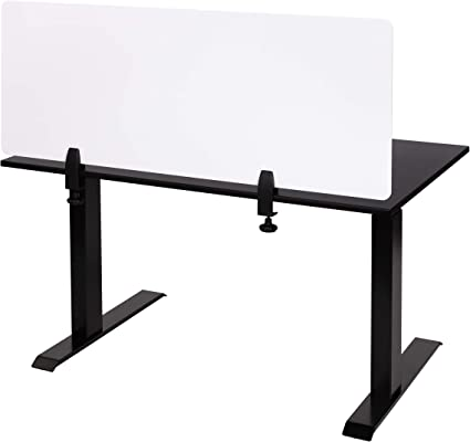 Stand Up Desk Store Refocus Clamp On Acrylic Desk Divider Partition Sneeze Guard Shield White 48 W X 18 H Furniture Decor