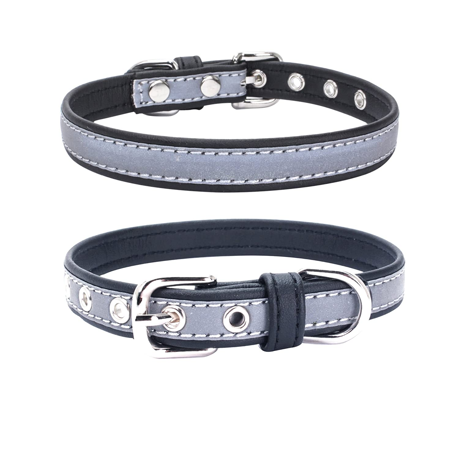 Mcdobexy Reflective Adjustable Leather Dog Collar for Small Medium Large Baby Puppies