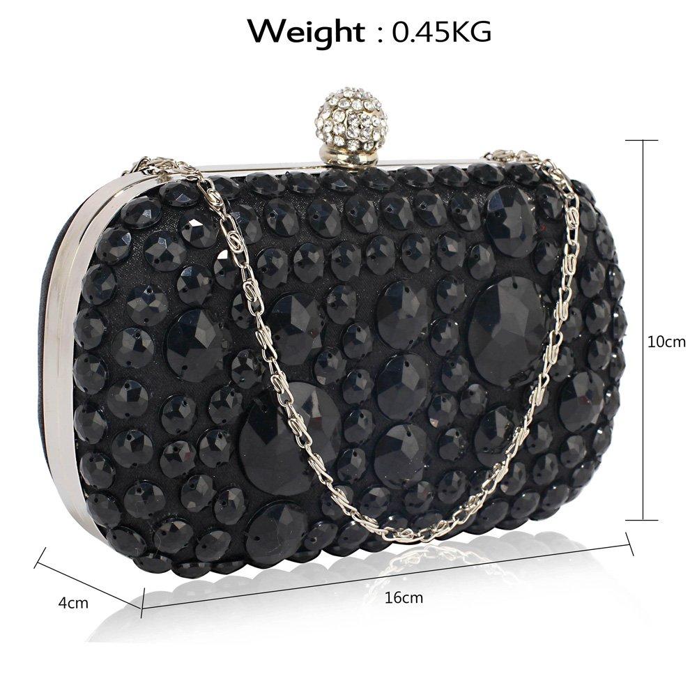 53f3080bd9d9 Beaded Clutch Bag Sparkly Stone Hard Case Box Handbag Party Evening Wedding  Purse: Amazon.co.uk: Shoes & Bags