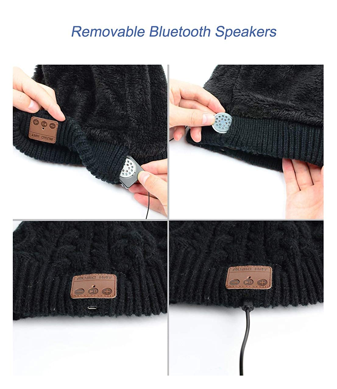 Fanzhou Wireless Bluetooth Beanie with Headphones Built in Double Knit Hands Free Music Cap with Stereo Speaker Removal Winter Beanie Hat for Running Skiing Skating Hiking Cycling