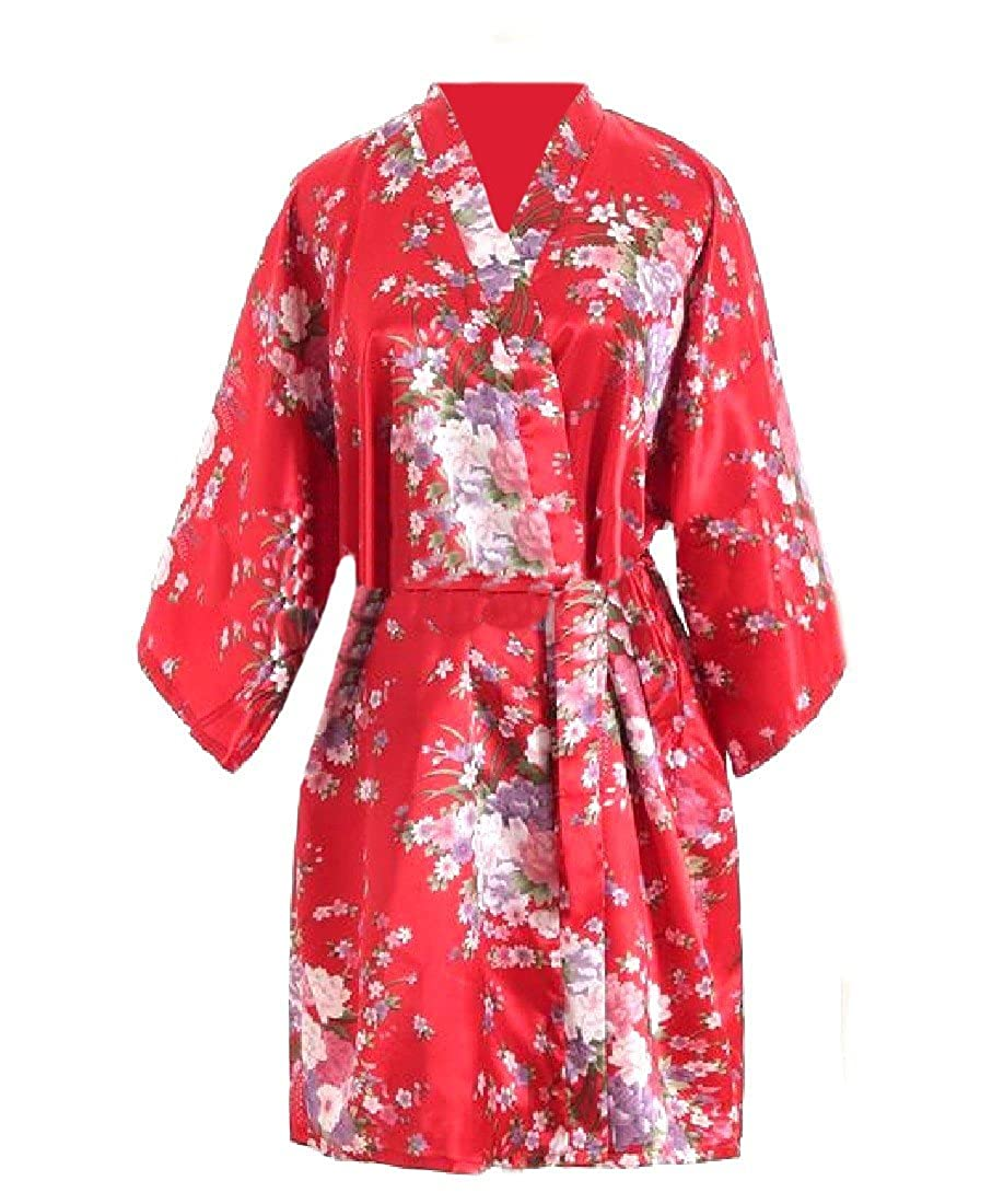 Freely Women's Floral Printed Bathrobe Charmeuse Sleepwear with Belt