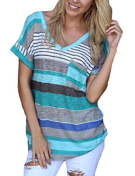 4b9cfa058cd8 Damen Gestreift T-Shirt V-Ausschnitt Kurzarm Shirt Sommer Tops Hemd Bluse  Oberteile  Amazon.de  Bekleidung