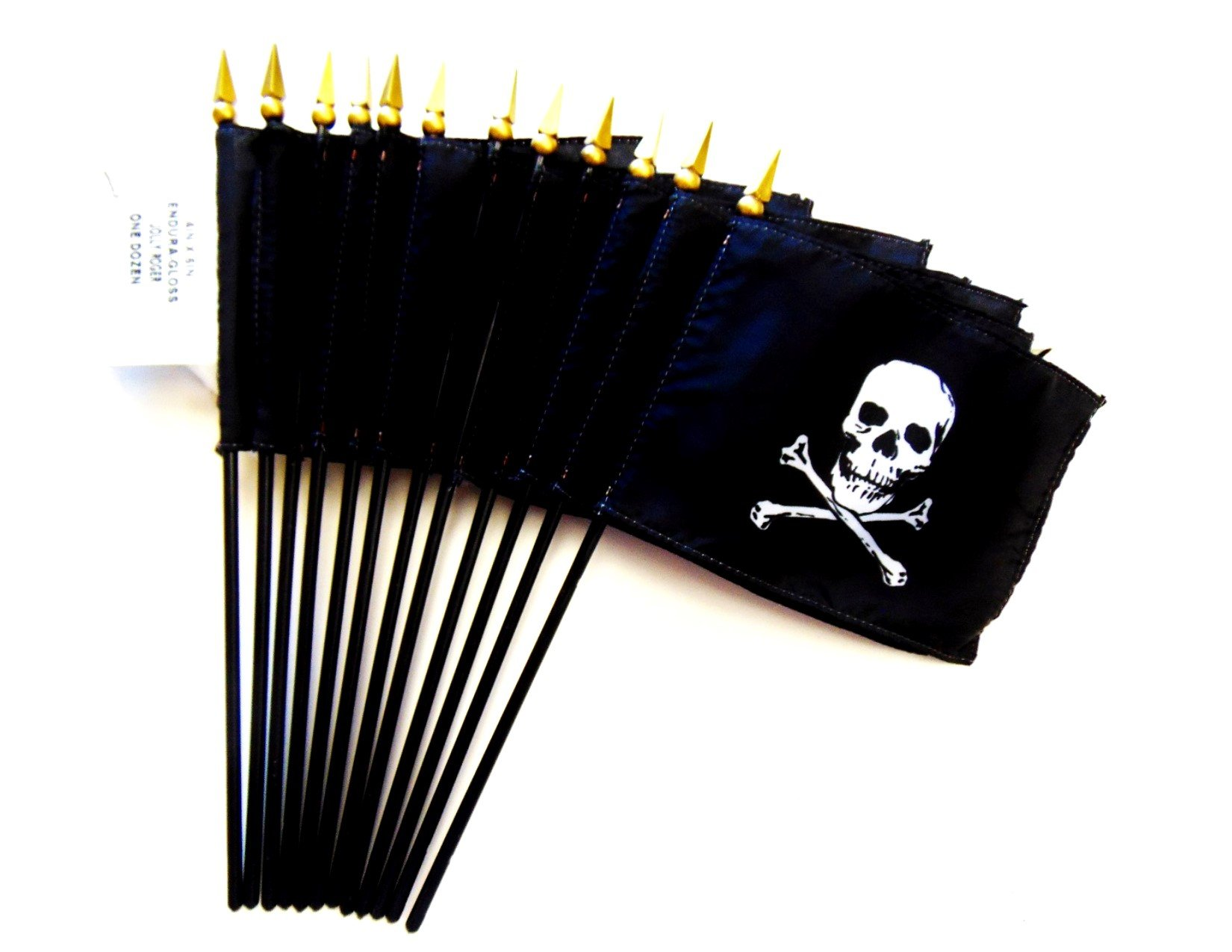MADE IN USA!! Box of 12 Jolly Roger 4''x6'' Miniature Desk & Table Flags; 12 American Made Small Mini Jolly Roger Pirate Flags in a Custom Made Cardboard Box Specifically Made for These Flags