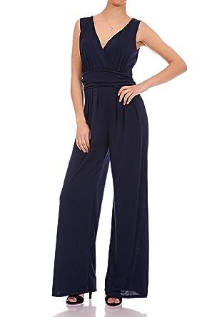 4c3021d1d2206b Laeticia Dreams Eleganter Damen Overall Jumpsuit V Ausschnitt S M L XL,  Farbe:Marineblau, Größe