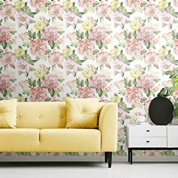 Roommates Watercolor Floral Bouquet Peel And Stick Wallpaper Pink Yellow Green Purple Removable Wallpaper Amazon Co Uk Diy Tools