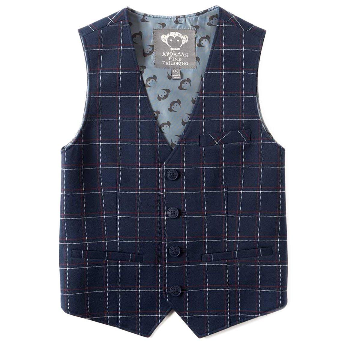 Appaman Little Boys' Tailored Vest in Navy Windowpane 5