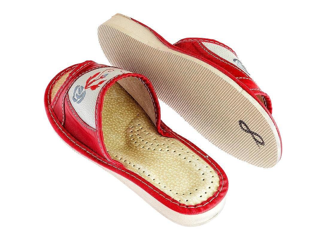 Confortevole in da Suola Donna Pantofole Gomma Pelle Apreggio Cq1z1w