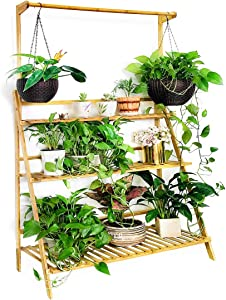 Moutik Bamboo Flower Display Stand:Plants Pots 3 Tier with Hanging Planter Folding Shelving Organizer Storage Shelves Rack Unit Holder 39.3in