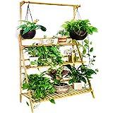 Moutik Bamboo Flower Display Stand:Plants Pots 3 Tier with Hanging Planter Folding Shelving Organizer Storage Shelves Rack Un