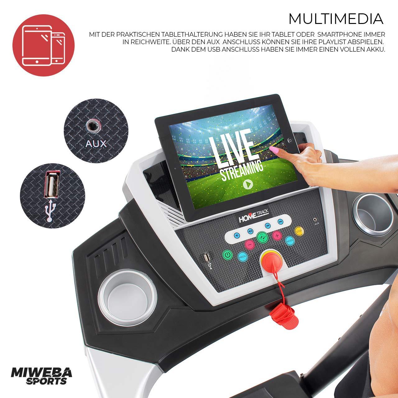 Tablet Halterung HT1000 Schwarz Miweba Sports elektrisches Laufband Ht1000 1,75 Ps Klappbar 16 Km//h Gro/ße Lauffl/äche 12+4 Laufprogramme Incline 6/%