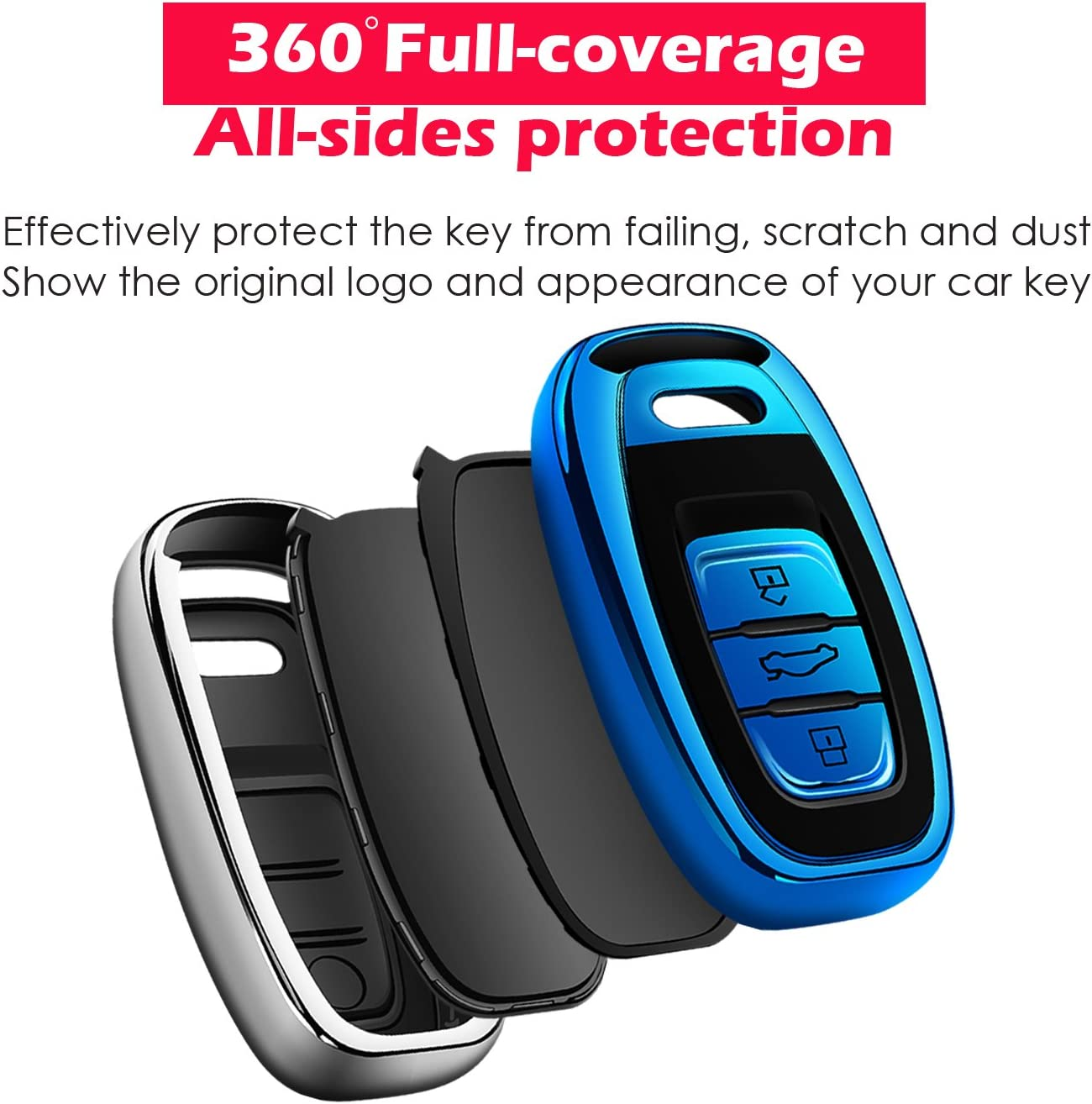 Blue Uxinuo for Audi Key Fob Cover Case Premium Soft TPU 360/° Full Protection Key Shell Case Cover Compatible with Audi A4L A6L Q5 A5 A7 A8 S5 S7 Keyless Entry/_