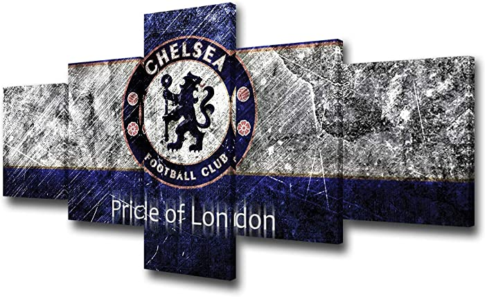Soccer Canvas Wall Art Chelsea Football Club Logo Pictures for Living Room 5 Piece Artwork Modern Paintings Home Decor Giclee Wooden Framed Gallery-wrapped Ready to Hang Posters and Prints 50''Wx24''H