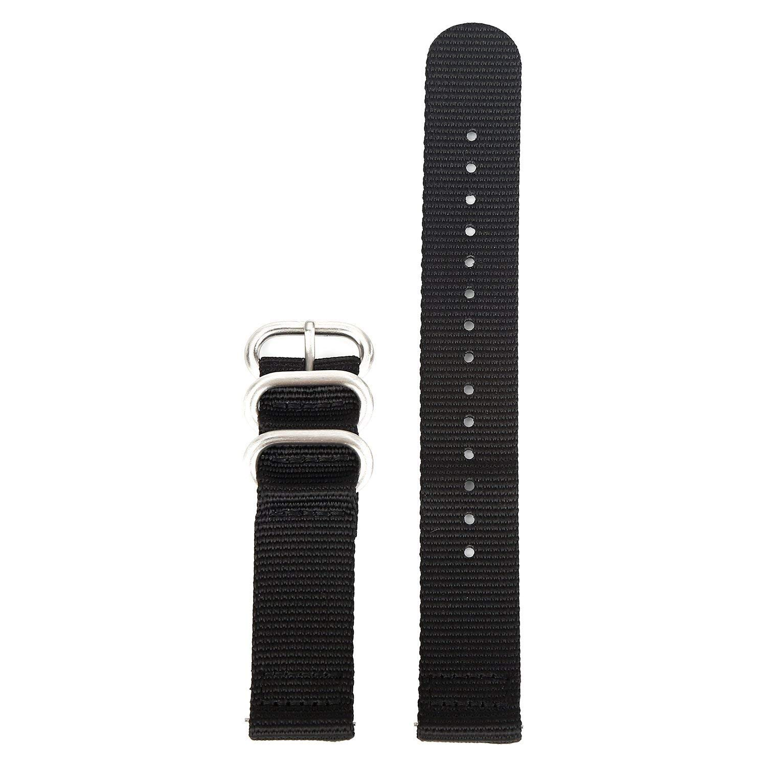 Boonix Easy Replacement Watch Bands, Quick-Change Ballistic Nylon Band for Men & Women [18mm Black]
