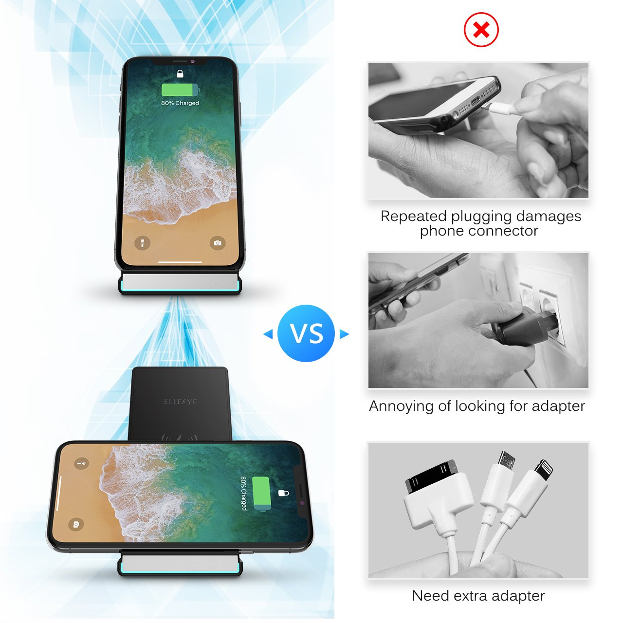iPhone X Wireless Charger, ELLESYE 10W Fast Wireless Charger Charging Stand for Galaxy S9 S9 Plus Note 8 S8 S8 Plus S7 S7 Edge Note 5 S6 Edge, 5W Standard Charge for iPhone X/8/8 Plus (No AC Adapter) by ELLESYE (Image #5)