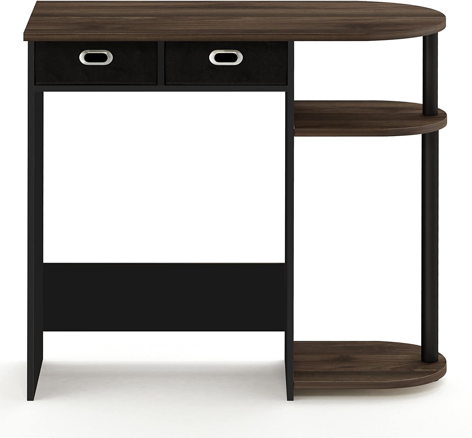 FURINNO 11193CWN/BK/DBR Go Green Home Computer Desk with Shelves, With With 2 Bin Drawers, Columbia Walnut/Black/Dark Brown