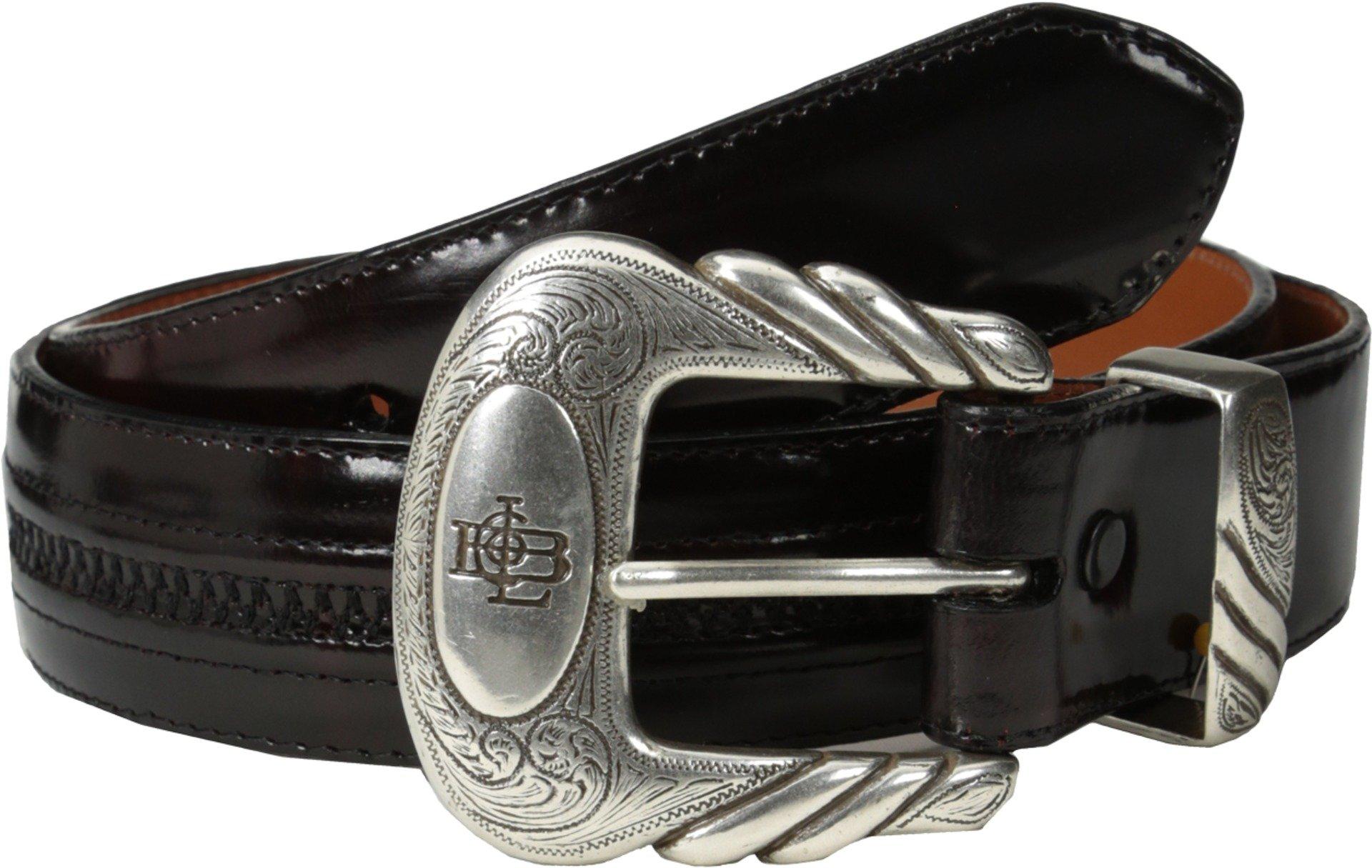 Lucchese Men's Cherry Goatskin Leather Belt Black Cherry 40