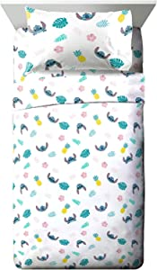 Jay Franco Disney Lilo & Stitch Aloha Stitch Full Sheet Set - 4 Piece Set Super Soft and Cozy Kid's Bedding - Fade Resistant Microfiber Sheets (Official Disney Product)