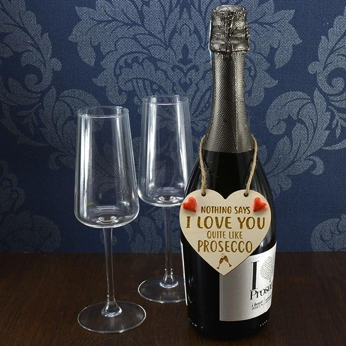 Picnmix Ceramics nada dice I Love You muy como Prosecco hecho a mano botella de vino encanto regalo San Valentín corazón: Amazon.es: Hogar