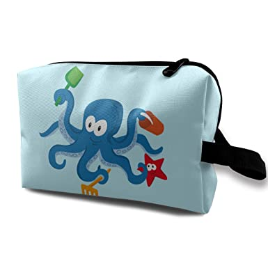 Amazon.com: Blue-octopus - Bolso de maquillaje con ...