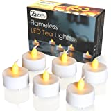 Flameless LED Tea Lights - Realistic Flicker battery operated white candles with Amber flickering flame - Perfect for Valentines Day, Halloween, Christmas, Votive, Romance, Birthday decoration.