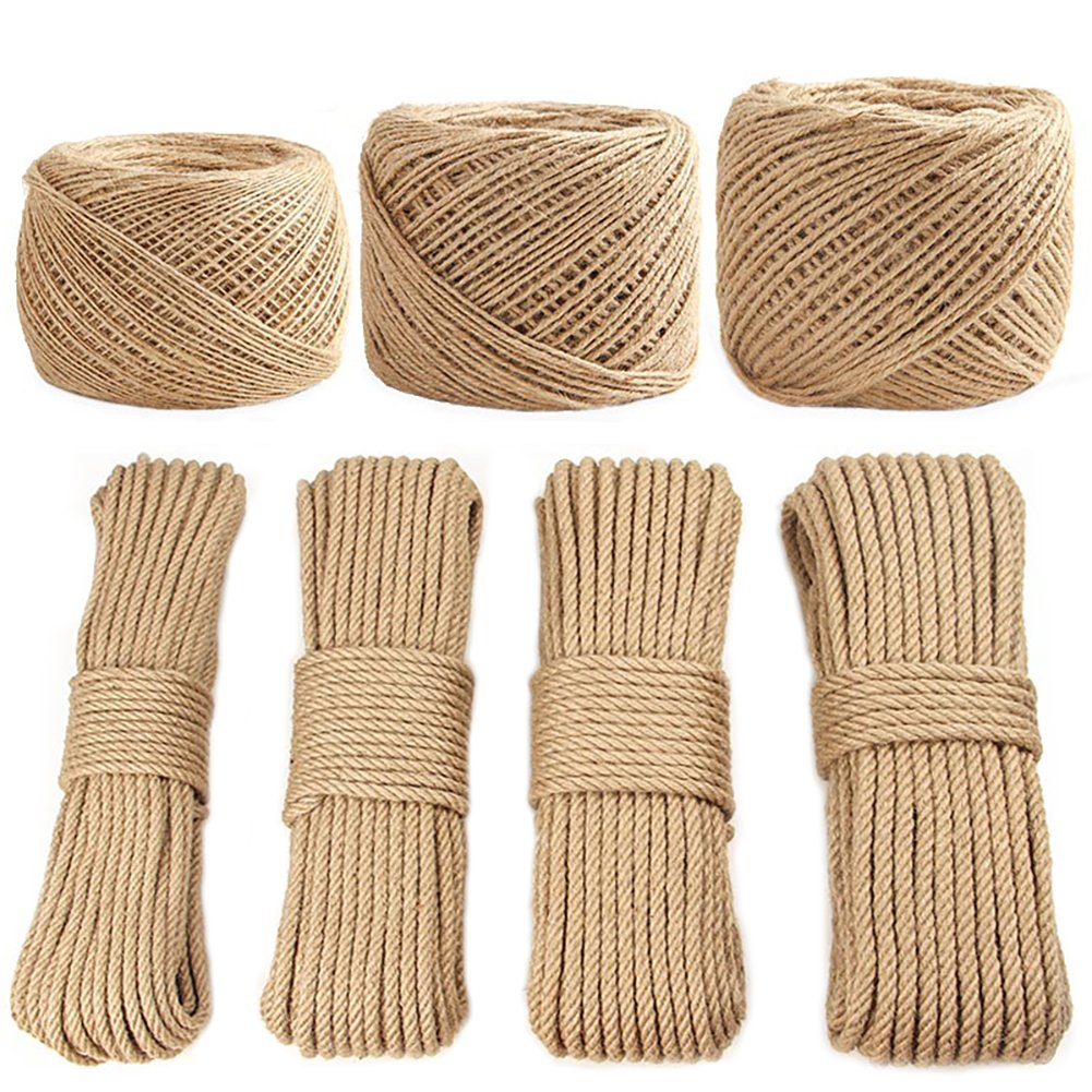 100% Natural Strong Jute Twine Rope Hemp Rope Cord For Arts Crafts DIY Decoration Tags Christmas Present Wrapping DIY Gift Packaging Bundling and Gardening (5MM x 50M (0.2 Inch x 164 Feet))