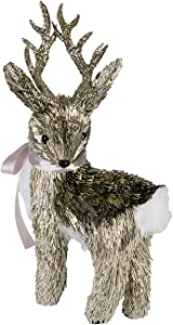 Rustic Twig Standing Reindeer Christmas Figure with Golden Glitter Antlers – Tabletop Deer Holiday Decoration – Mantle, Hearth, or Office Desk Decor