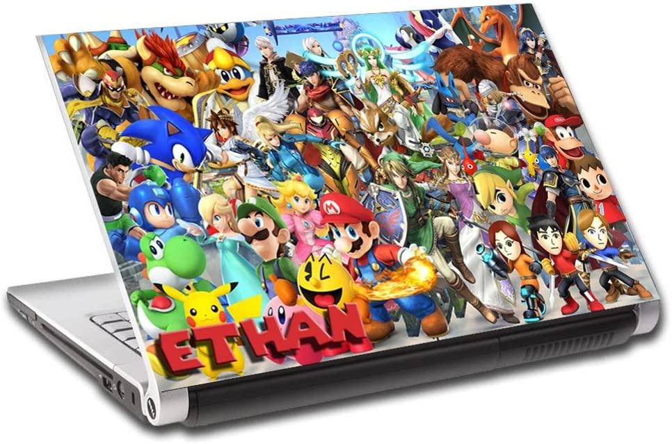 Super Smash Bros Mario Personalized LAPTOP Skin Vinyl Decal Sticker NAME L314, 15.6