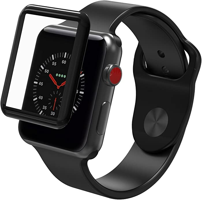 ZAGG InvisibleShield Glass Curve Elite - Extreme Impact and Full Screen Scratch Protection for Apple Watch Series 3 (42mm) - Black