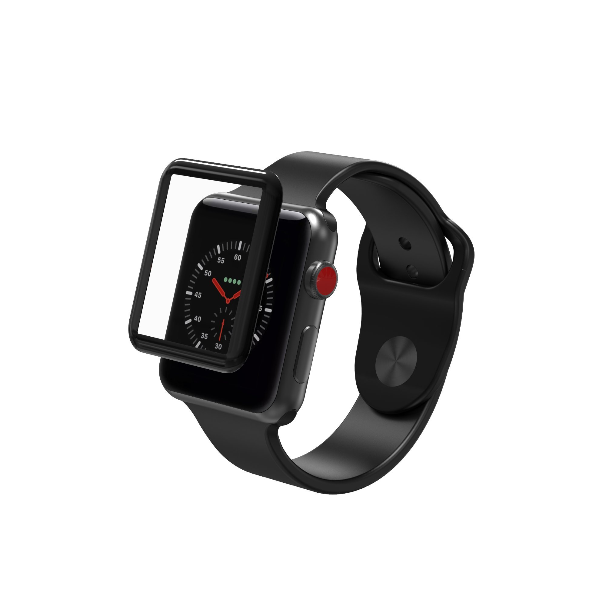 ZAGG InvisibleShield Glass Curve Elite - Extreme Impact and Full Screen Scratch Protection for Apple Watch Series 3 (38mm) - Black by ZAGG (Image #1)