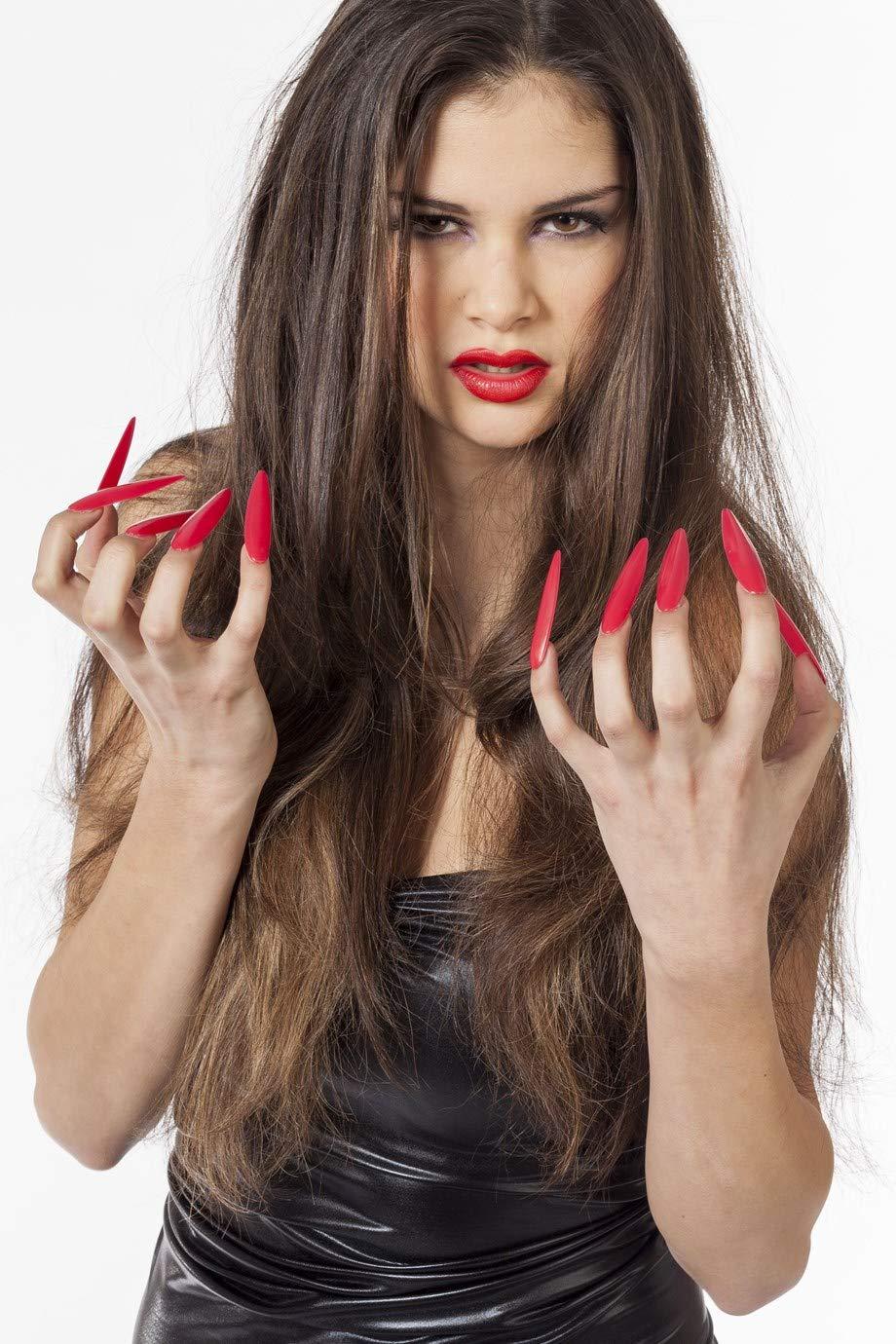 Wilbers Karnaval - Uñas postizas largas para disfraz| color rojo ...