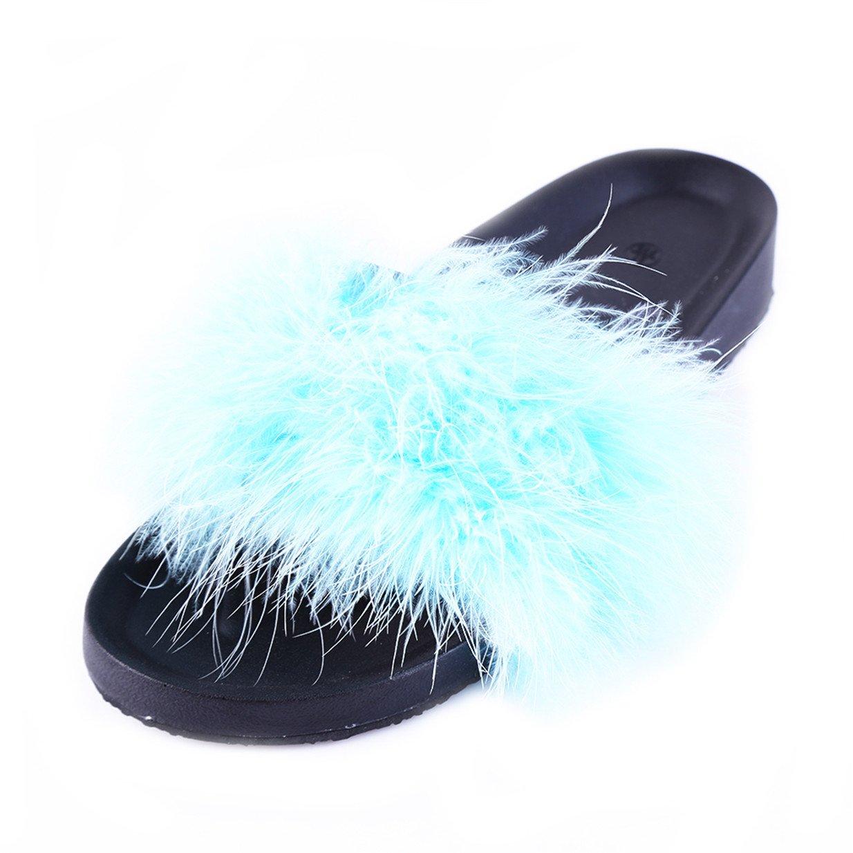 Lalang Frauen Schouml;n Gefieder Mouml;bel Schuhe Sandalen Slipper im Freien Flip-Flops Sandalen  37 EU|Blau