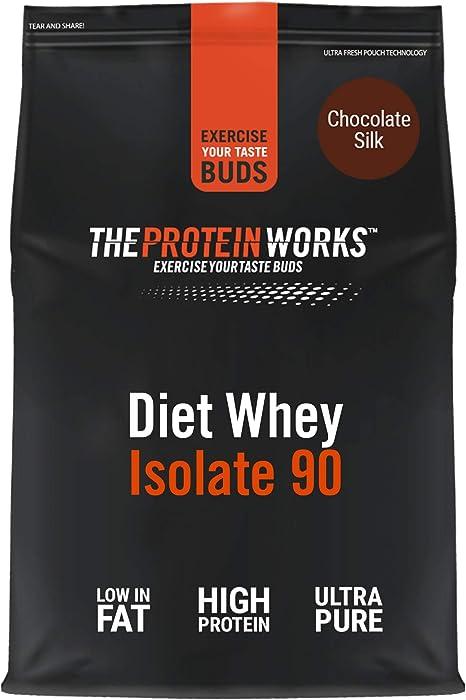 Proteína Whey Diet Isolate 90   Sabor chocolate   1 kg de Aislado de proteína Whey