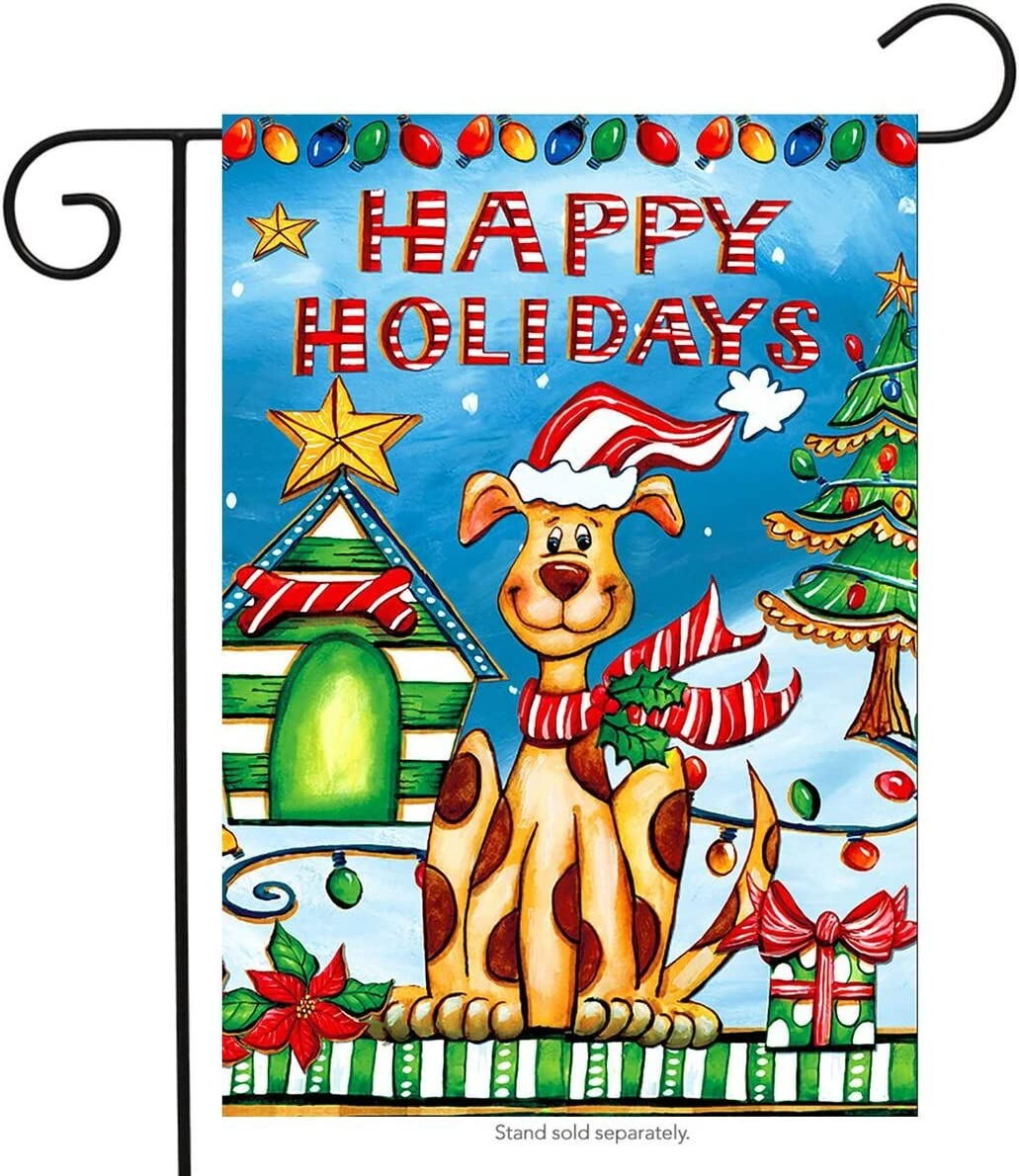 "Briarwood Lane Happy Holidays Dog Christmas Garden Flag Pets Puppy Humor 12.5"" x 18"""