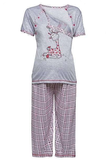 Mujer Pijama Premamá Camiseta Lactancia Pantalones Recortadas. 173p (Rojo, EU
