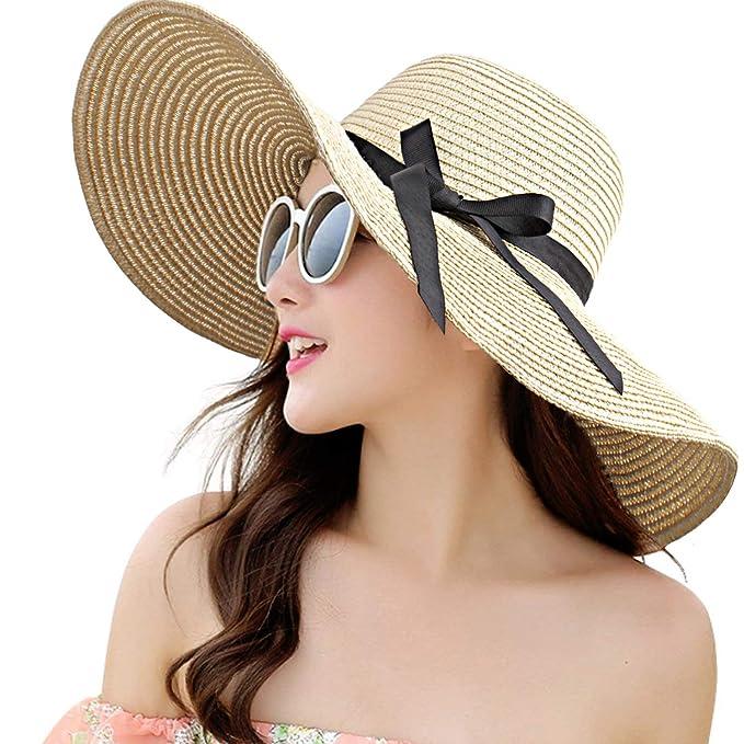 32a6e65e Womens Straw Hat Wide Brim Floppy Beach Cap Adjustable Sun Hat for Women  UPF 50+